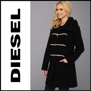 NWT DIESEL M-Tresette Hooded Wool Toggle Coat XS